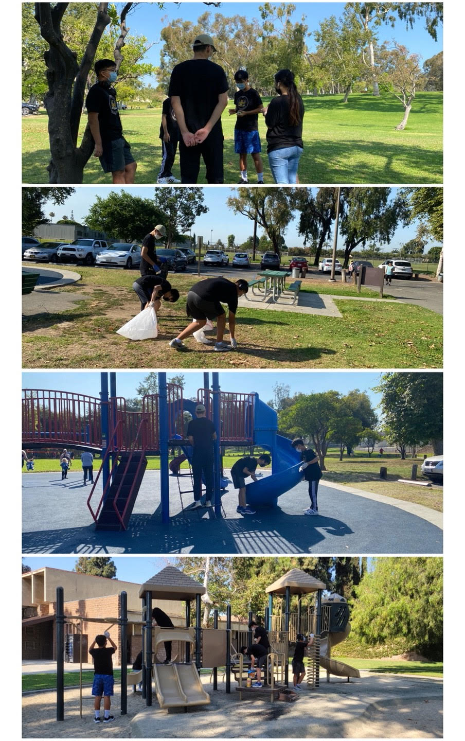 Hand in Hand members clean up trash and sanitize playgrounds at Tri-City Park, Placentia